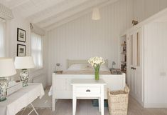Beach cottage bedroom - simple cream & white furnishings + wall & ceiling panelling