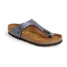 Women's Birkenstock Gizeh Birko-Flor Thong (115 CAD) ❤ liked on Polyvore featuring shoes, sandals, flip flops, onyx, birkenstock shoes, birkenstock, birkenstock sandals, thong sandals and flat thong sandals