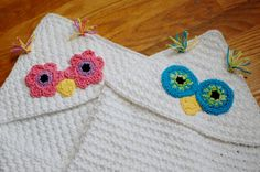Owl Hooded Baby Towel Crochet Pattern (also makes a great hooded blanket)
