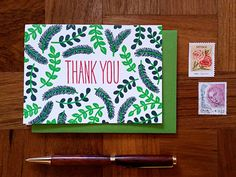 Noteworthy Paper & Press thank-you card, $4 (Missoula, Montana) #madeinusa #madeinamerica