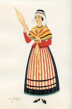 Comté de Foix, French Provincial Costumes (1936), artist: Emile Gallois