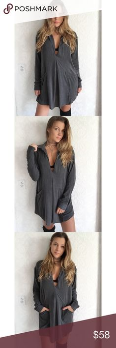 "||New|| Grey Vneck dress In l o v e with this dress. Super casual yet sexy with a lacie Bralette && high boots 😍 ideally perfect for many occasions and is easily dressed up or down for a day or night event. Super light material and perfect for layering with a cardigan or vest- even throw a bodysuit under for a fun look! •100% Rayon •Modeling a small {oversized} •Small:33"" L 21"" W •MD: 33.5"" L 22"" W •LG: 34"" L 23"" W Dresses Mini"