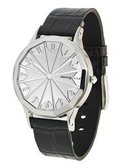 Moog Paris-Roulette Damen-Armbanduhr Zifferblatt silber Armband schwarz Leder Rindleder, hergestellt in Frankreich-m44902-112 - http://uhr.haus/moog-paris/moog-paris-roulette-damen-armbanduhr-silber-in-2