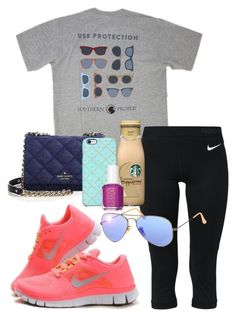 """""""protection is key"""" by sofiaestrada ❤ liked on Polyvore featuring NIKE, Kate Spade, Uncommon, Essie and Ray-Ban"""