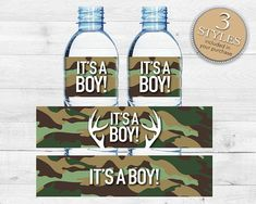 Instant Download Green Camo Water Bottle Labels, Printable Camo Baby Shower Labels, Army Camoflauge Water Bottle Labels, Country Camo Bottle Labels #31B by Studio20Designs, $2.00