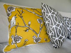 yellow and charcoal pillows