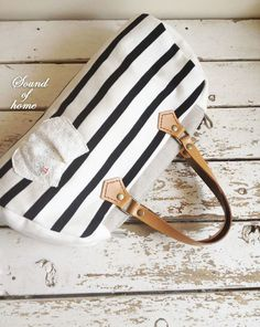 2 way zakka style navy & white leather bag nautical handmade zakka. $59.50, via Etsy.