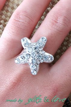 Holiday Promotion - Sparkly Cocktail Ring - Rhinestones Starfish adornment, Silver ring, party, holiday gifts, for her, beach wedding, beach party, www.glitzandlove.com,  by GlitzAndLove on Etsy