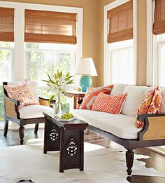 Pattered pillows break up neutral palettes