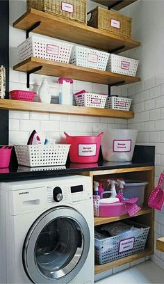 built in shelf & clothing bar instead of hanging shelves with the dryer