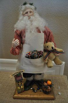 Santa in the Workshop. $150.00, via Etsy at nanasworkshop.