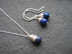Lapis Lazuli Wire Wrapped Pendant and Earring Set £18.00