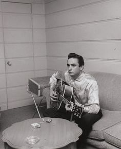 Johnny Cash in a Los Angeles recording studio, 1960.