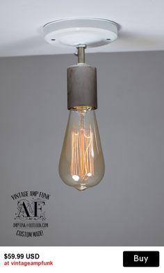 Nickel Ceiling light Industrial Ceramic ceiling light, Antique Edison Bulb, Lamp, Rustic Lighting