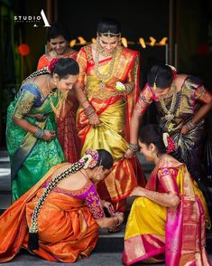 Looking for South indian bride with her sisters on her wedding day? Browse of latest bridal photos, lehenga & jewelry designs, decor ideas, etc. on WedMeGood Gallery. Telugu Wedding, Wedding Sari, Wedding Pics, Wedding Photoshoot, Wedding Shoot, Wedding Bells, Wedding Decor, Dream Wedding, Wedding Album