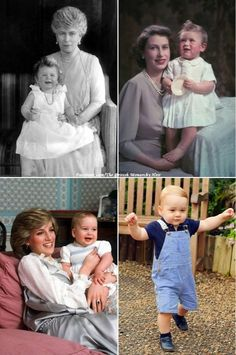 As the world counts down to Prince George's first birthday on Tuesday. take a look back at how the Queen, Prince Charles and Prince William spent their first birthdays