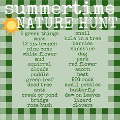 Great idea for a summer scavenger hunt for A... take a picture of each thing he or she finds and check it off the list .