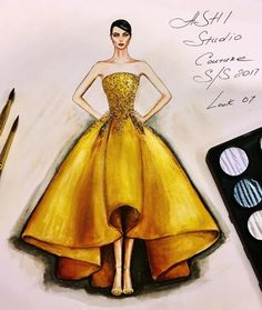 Fashion Illustration Speed Painting with Ink – Fashion Models Dress Design Sketches, Fashion Design Sketchbook, Fashion Design Drawings, Fashion Sketches, Fashion Drawing Dresses, Fashion Illustration Dresses, Fashion Dresses, Fashion Illustrations, Fashion Illustration Tutorial