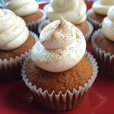 Delicious, light and fluffy! These taste of Fall, and the crystallized ginger gives then a lovely little zing. Even people who don't like pumpkin love these cupcakes. How To Make Cupcakes, Fun Cupcakes, Amazing Cupcakes, Cupcake Recipes, Baking Recipes, Dessert Recipes, Desserts, Easy Cupcake Frosting, Cupcake Cakes