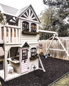 Awesome Outdoor Kids Playhouses To Build This Summer - Kids Room Ideas Backyard Playset, Backyard Playhouse, Backyard Playground, Backyard For Kids, Backyard Projects, Outdoor Playhouses, Outdoor Playset, Backyard Games, Outdoor Playhouse For Kids