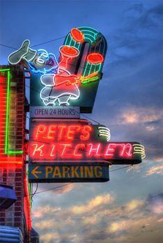 Pete's Kitchen ....Denver, Colorado  1962 E Colfax Ave Denver  OPEN 24 HOURS - 7 DAYS WEEK. Best breakfast burrito 2004