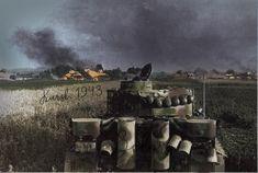 Battle of Kursk . A german Tiger tank advancing toward a burning village.