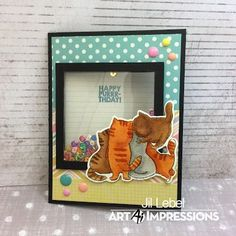 Art Impressions Rubber Stamps: Ai Fronts and Backs: Happy Purr-thday stamp set and coordinating dies. Handmade birthday card. cats, kittens