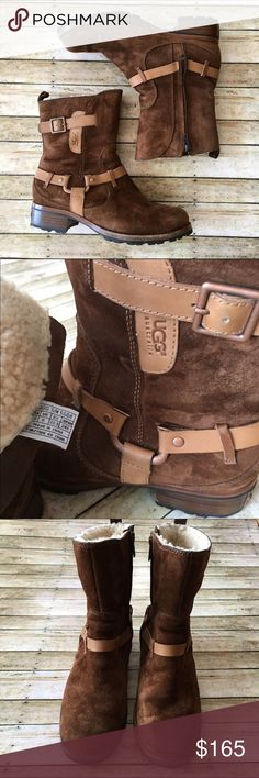 """UGG 'Endell' Harness Boot UGG 'Endell' Harness Boot. SZ 7.5 Brown Suede upper with Copper -tone Harness detailing. UGG logo embossed on leather strip. Zippered opening on side. Interior completely lined in sheepskin. Stacked leather heel with Copper-tone Metal UGG logo tag and lugged rubber outsole. Approx. Measurements: 1.75"""" Heel height, 7' Shaft height. EUC. UGG Shoes Ankle Boots & Booties"""