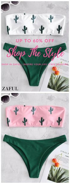 Cactus Print Bandeau Bikini. Our new-coming bikini swimsuit is available in two trendy colors for your choices. The bandeau bikini top is designed with cactus prints all over and removable round pads inserted for comfortable support. A pair of low waisted cheeky briefs is included to complete the look. #Zaful #Swimwear #Bikini