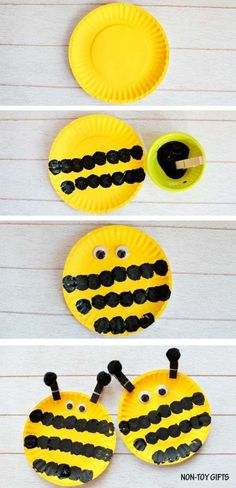 Easy paper plate bee craft for preschoolers and older kids. This easy spring craft is perfect for an insect study unit in the classroom. Paint a paper plate and make the black strips with a pom pom. | at Non-Toy Gifts #artsandcraftsforkidswithpaper,