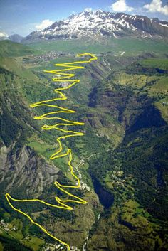 One day I want to ride bike to the top of Alpes D'Huez. My own Tour de France. I have ridden motorcycles thru the Alps with no regrets Cycling Art, Road Cycling, Indoor Cycling, Road Bike, Isere France, Alpe D Huez, Dangerous Roads, Cycling Holiday, Beautiful Roads