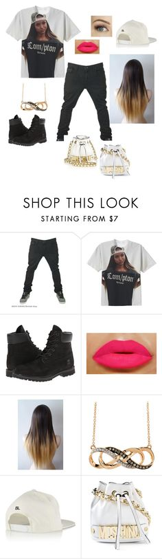"""""""MOSCHINO + Black+ Karrueche Tran"""" by cimmerian ❤ liked on Polyvore featuring Vans, Timberland, Brian Lichtenberg and Moschino"""