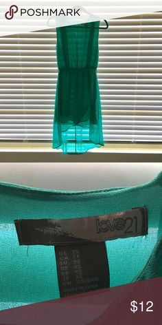 LOVE 21 | Sheer Hi-Lo Teal Dress It's not see through, The sun is just shiny through a lot in the photo. Worn once for an afternoon wedding. Perfect for the occasion at a yacht club! Forever 21 Dresses High Low