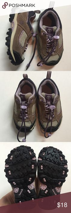 Timberland girls' purple hiking shoes sz 5. Cute! Timberland girls' hiking shoes. Size: 5. Purple and brown. Elastic closure. Cute shoes! Great preowned condition. No wear on sole! Timberland Shoes