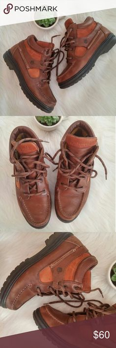 Vintage Timberland Lace Up Boots 8 Great condition! Some light scuffing etc but excellent shape for age! Leather Upper . gore-tex. Made in Portugal. Women's 8.  Bundle for best deals! Hundreds of items available for discounted bundles! Bundle offers welcome.   Follow on IG: @the.junk.drawer Timberland Shoes Lace Up Boots