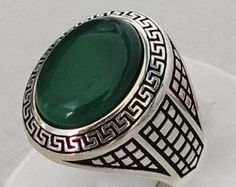 Handmade Authentic Natural Green Agate Stone 925 Sterling Silver Men's Ring D58
