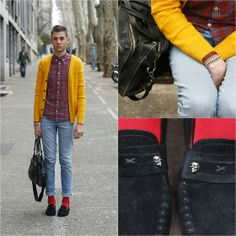 H&M Shirt, H&M Cardigan, Cheap Monday Blue Jeans, Topman Socks, Lancaster Satchel, Zara Loafers - Play (with colors) - Yann Mobir