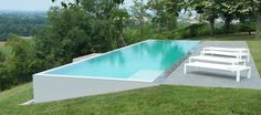 pool im garten ideen Pool On Land Slope pool on sloping ground free duune swimming pool ent . Swiming Pool, Swimming Pools Backyard, Swimming Pool Designs, Pool Landscaping, Infinity Pool Backyard, Sloped Yard, Sloped Backyard, Backyard Pool Designs, Infinity Pools