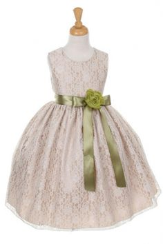Girls Dress Style 1132- CHAMPAGNE Taffeta and Lace Dress with SAGE Accents