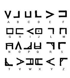 Necronomicon by Wilson - Ye Alphabet of Nug-Soth Alphabet Code, Alphabet Symbols, Ancient Alphabets, Ancient Symbols, Writing Fonts, Writing Tips, Alfabeto Viking, Monogramm Alphabet, Symbole Tattoo