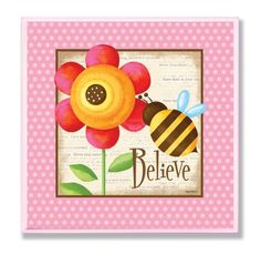 The Kids Room by Stupell Believe Bumblebee and Flower Square Wall Plaque ** You can get more details by clicking on the image.-It is an affiliate link to Amazon. #KidsRoomDcor