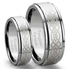 His & Her's 8MM/6MM Tungsten Carbide Wedding Band Ring Set with Celtic Design (Available Sizes 4-15 Including Half Sizes)