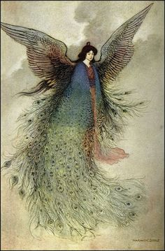 The Moon Maiden - illustration by Warwick Goble to Green Willow and Other Japanese Fairy Tales: I love anything with peacock feathers Art And Illustration, Georg Christoph Lichtenberg, Warwick Goble, Art Magique, Robert Louis Stevenson, Poster Prints, Art Prints, Fairytale Art, Oeuvre D'art