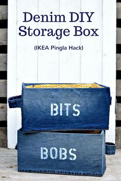 "Fun Denim DIY Storage Box for your ""Bits and Bob"". Ikea Pingla hack with stenciling. Very easy to make fabric attached with spray adhesive."
