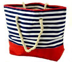 Marine-Strandtasche (DunkelBlau-Rot): Amazon.de: Koffer, Rucksäcke & Taschen