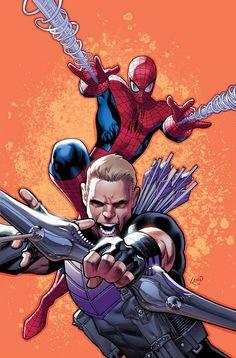 Spiderman & Hawkeye by Greg Land