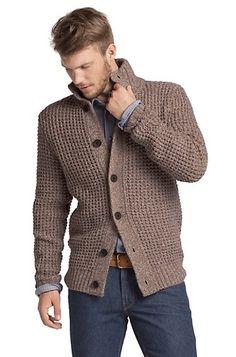 Hugo Boss - Knit cardigan in blended new wool 'Aris', Open brown