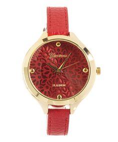 Look what I found on #zulily! Red Filigree Watch by Geneva Platinum #zulilyfinds