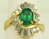 Antique Ladies Cluster (Cocktail, starbust) 18kt Yellow Gold Ring with Large Emerald and Diamonds