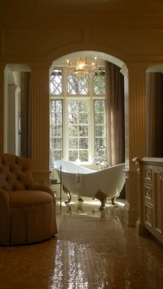 I really like something about this.... I like the tub being in the open but the rest being closed in...